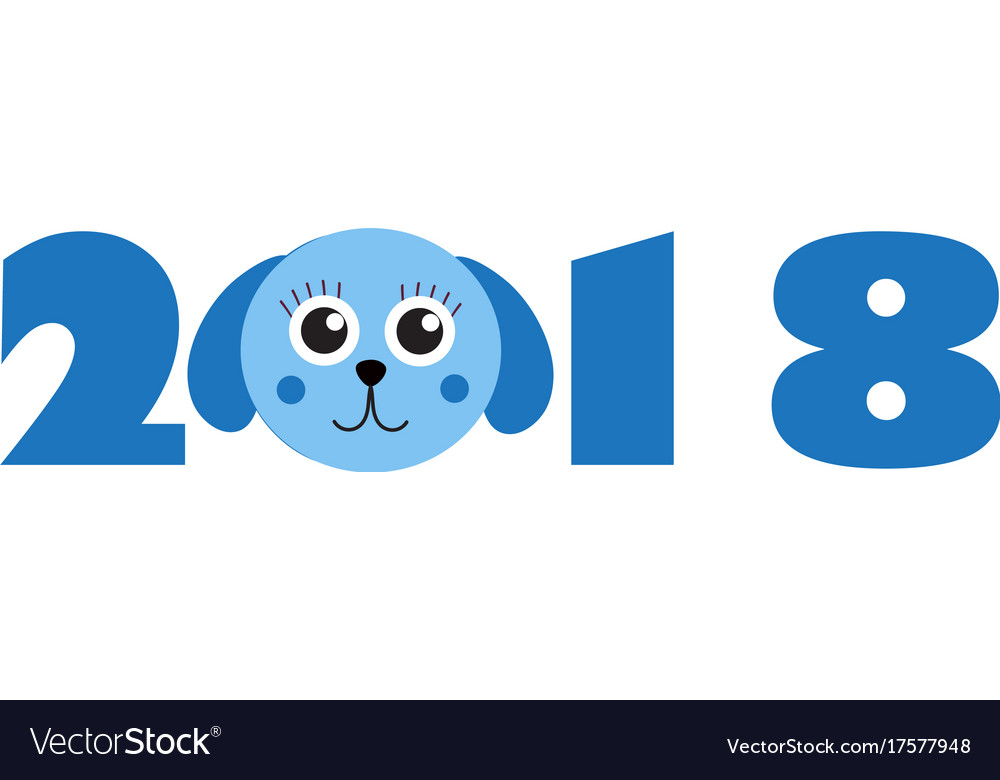 New year 2018 figures with cute puppy dog