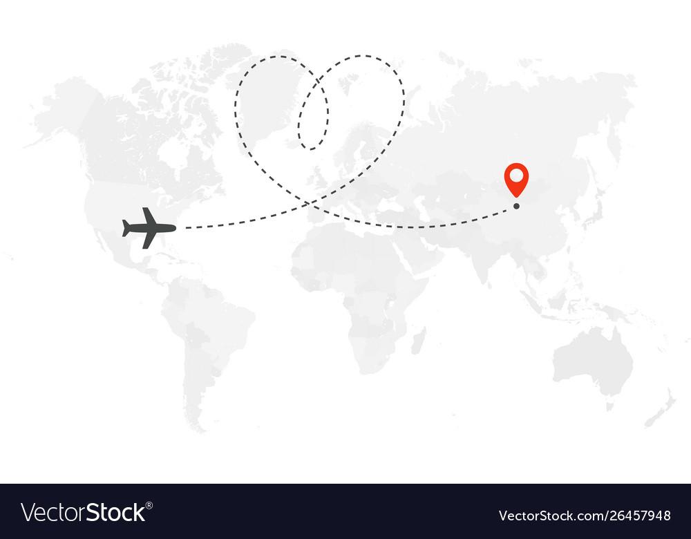 Romantic or honeymoon trip airplane line path