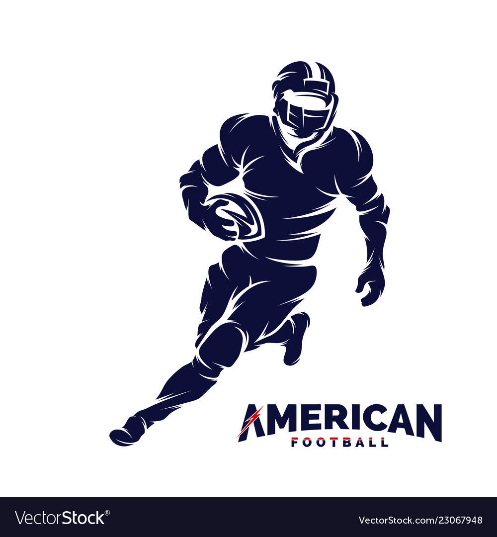 Running american football player logo silhouette
