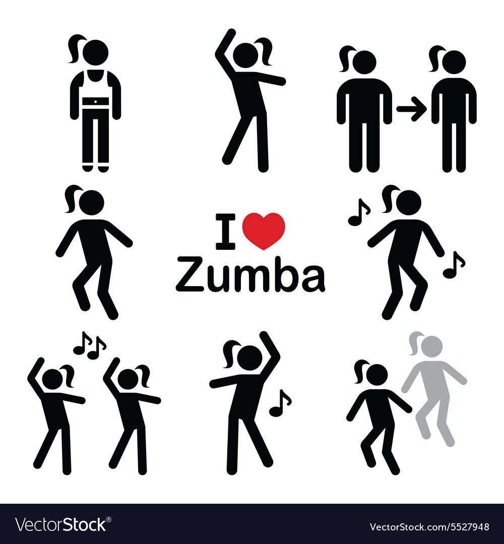 Zumba dance workout fitness icons set vector image