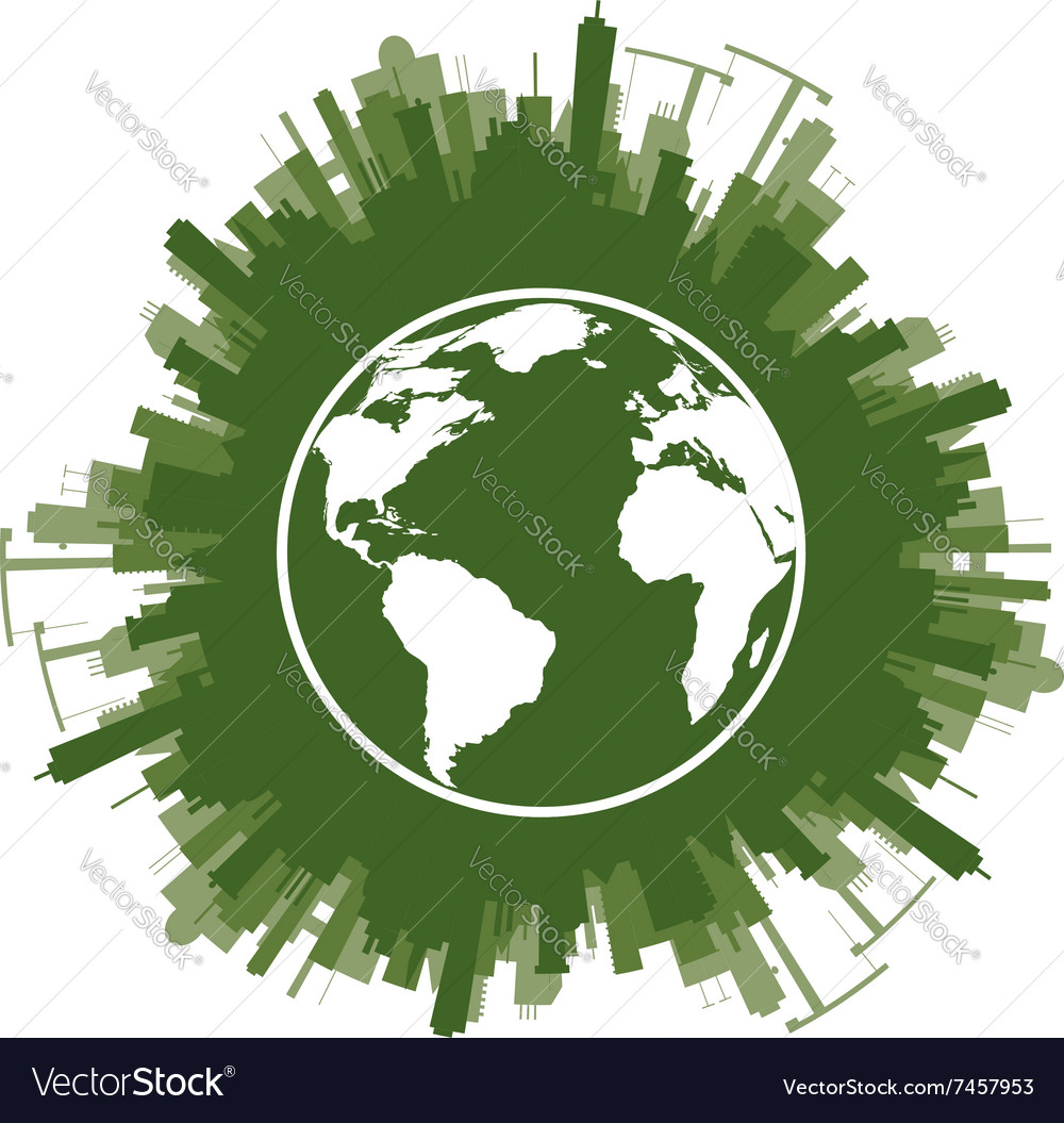 Ecology concept of green planet vector image