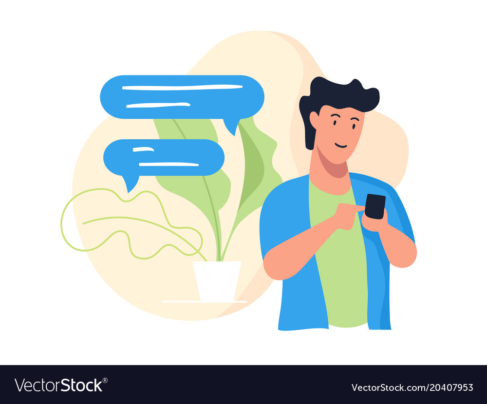 Guy with phone vector image