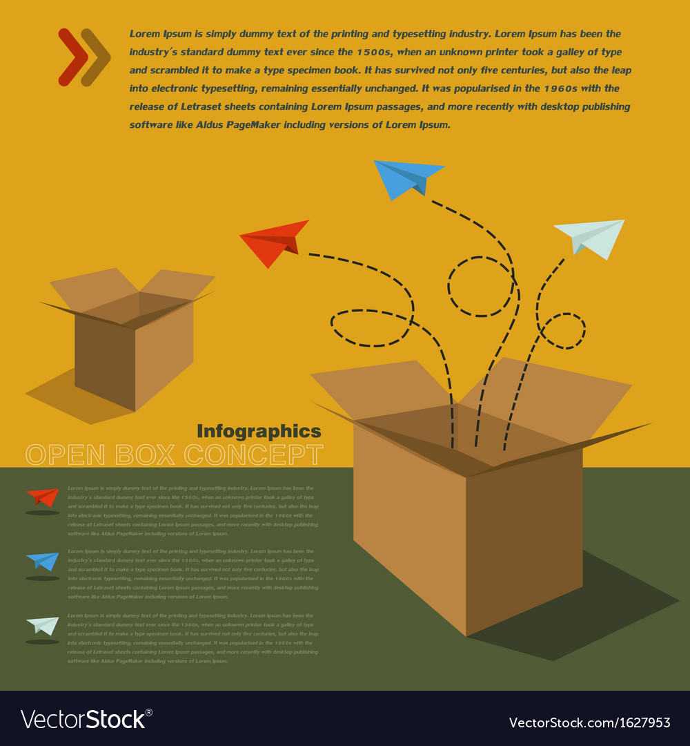 Infographics of open box concept vector image