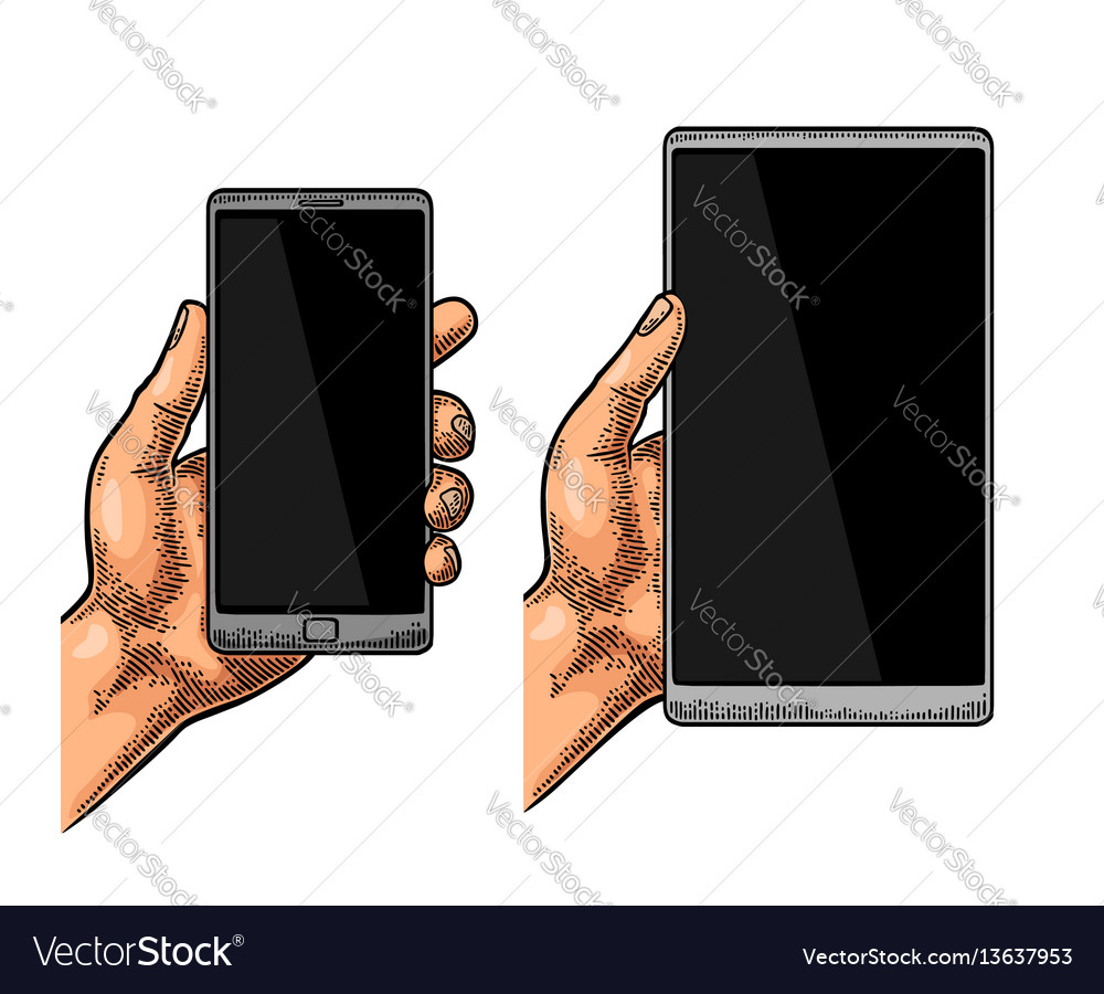 Male hand holding a modern mobile phone vintage