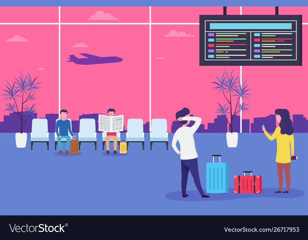 People in airport waiting flight men and women