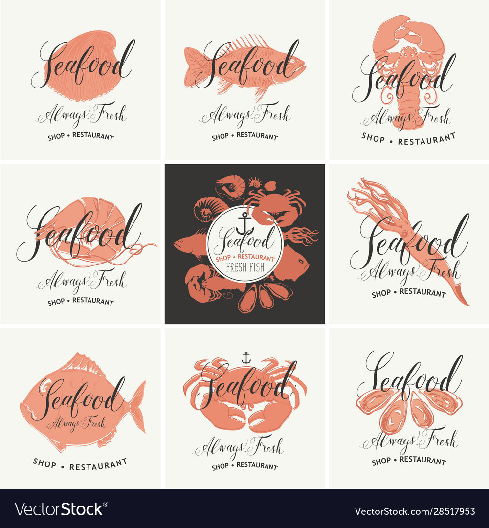 Set banners for seafood shop or