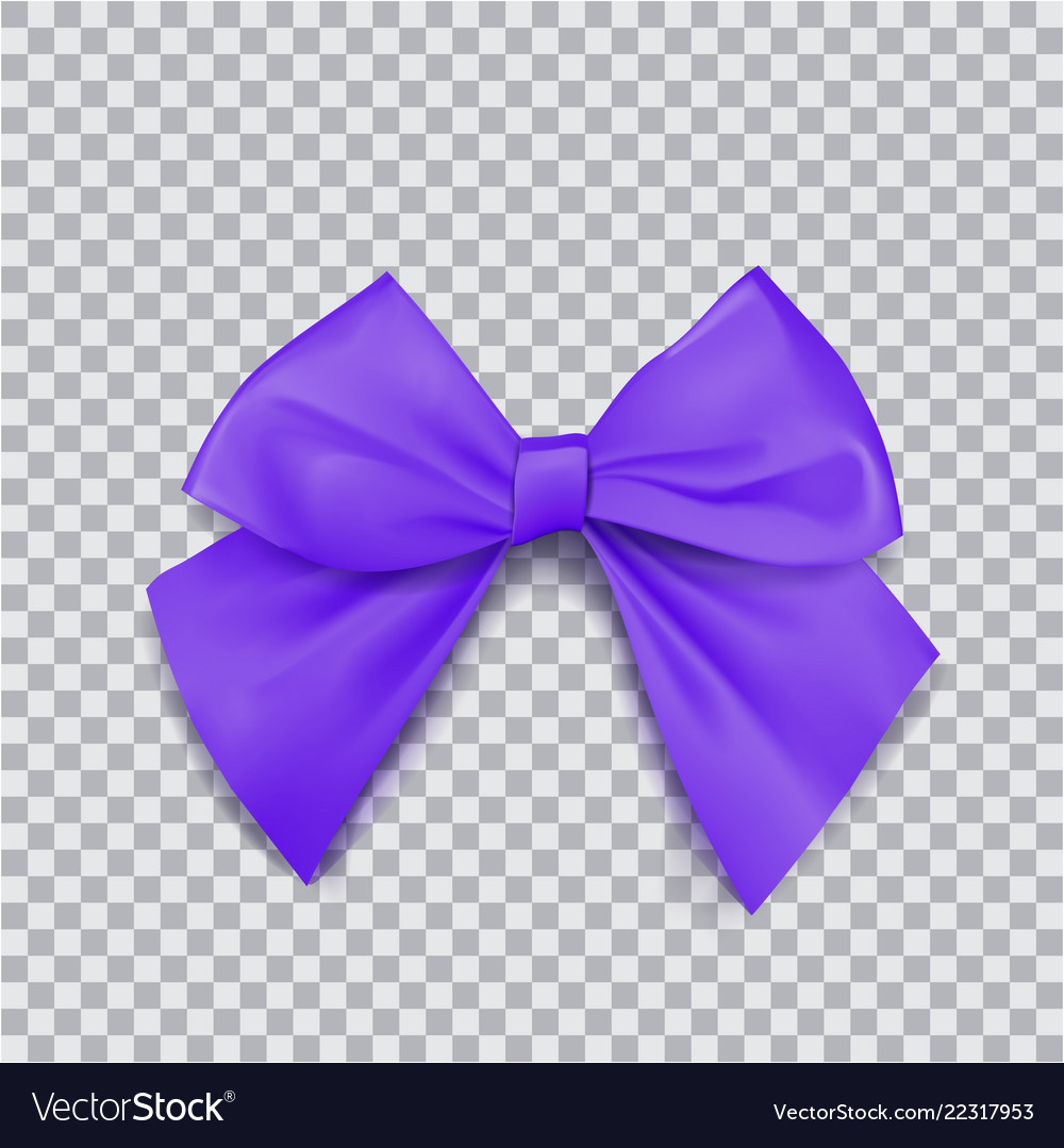 Violet bow for packing gifts realistic