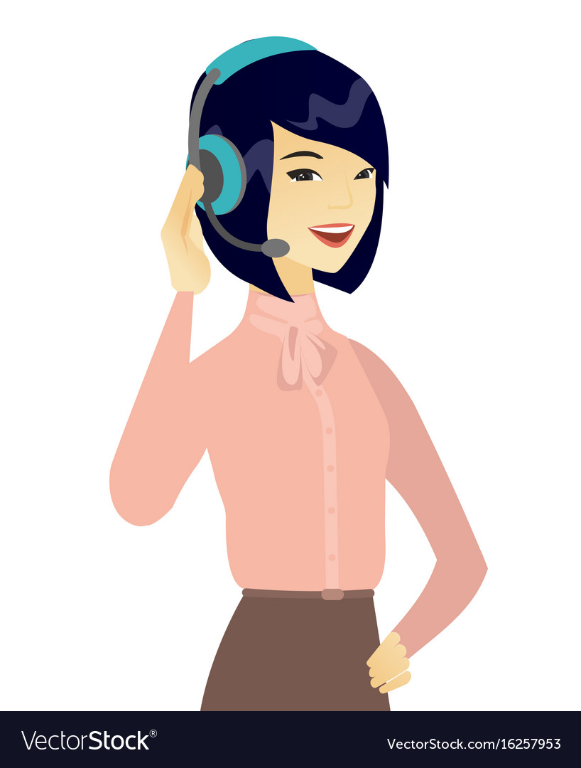 Young asian customer service operator in headset vector image