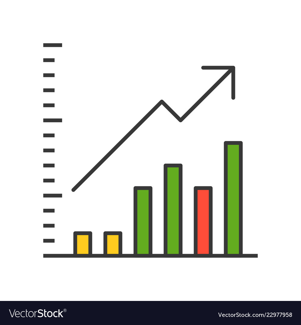 bar chart and arrow icon company or business vector image