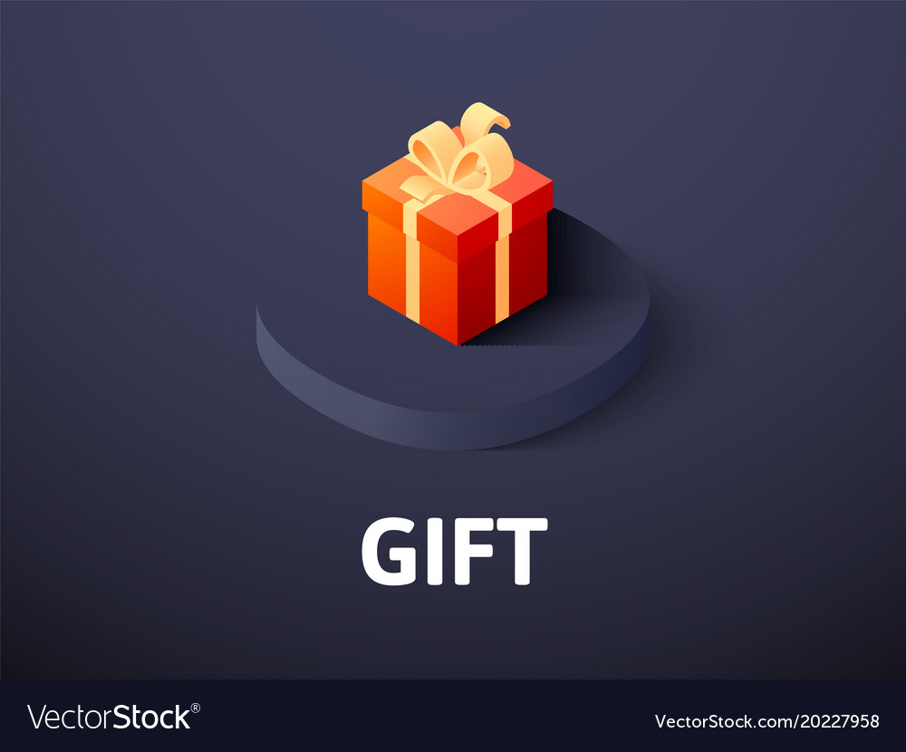 Gift isometric icon isolated on color background