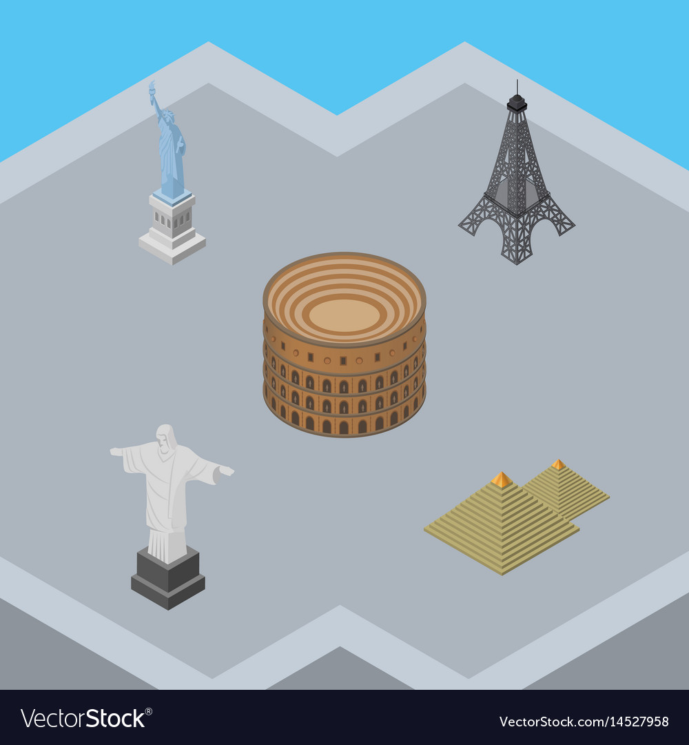Isometric architecture set of rio egypt coliseum vector image