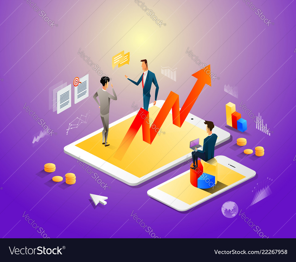 Isometric modern businessman work with gadgets