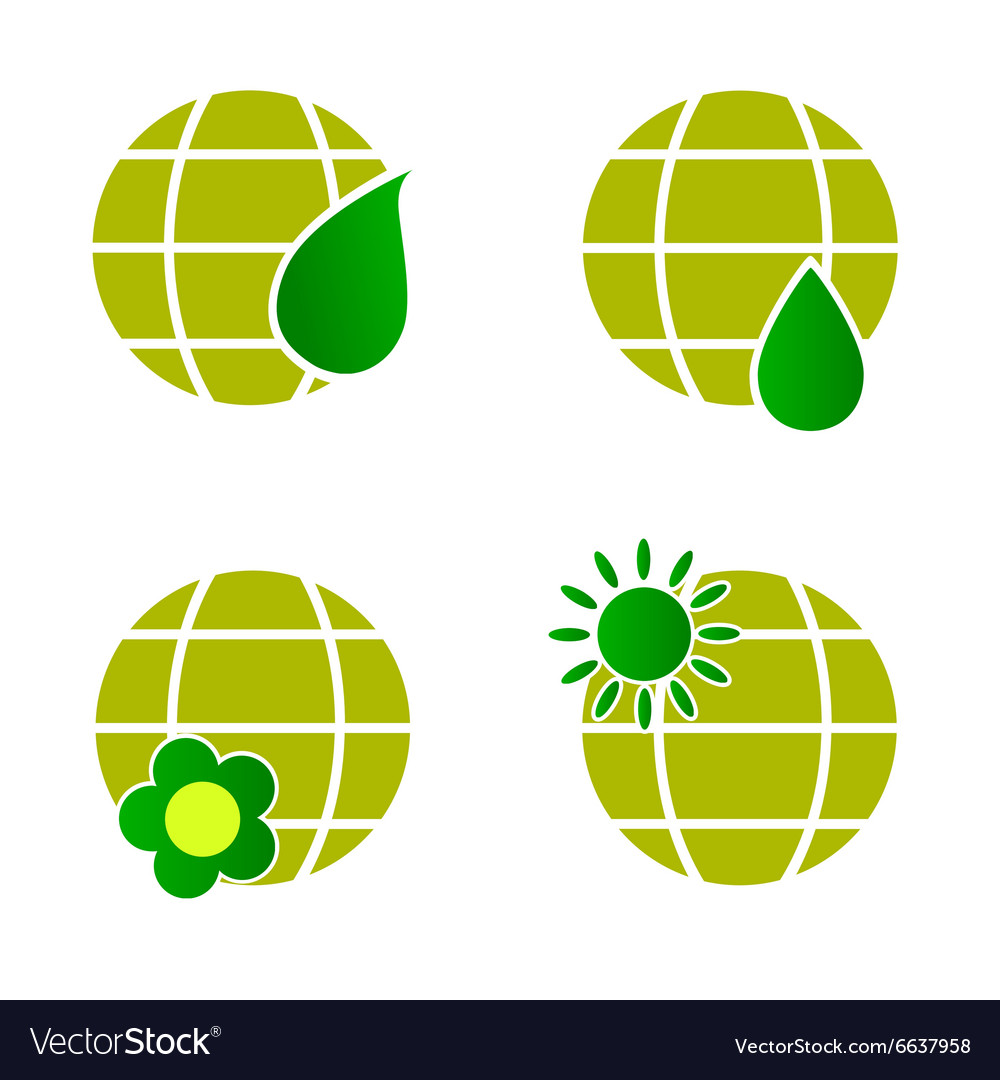 Natural green globe icon