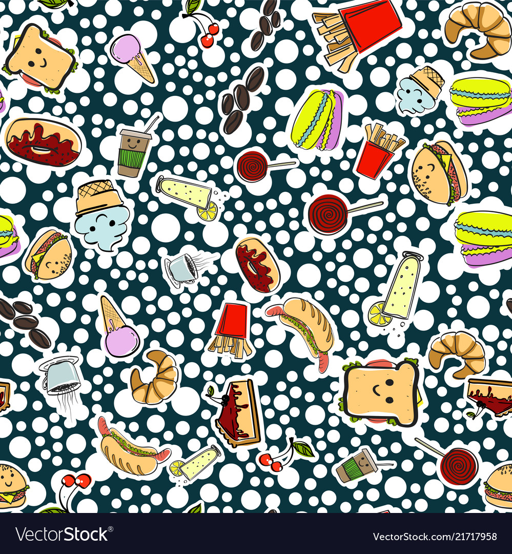 Seamless pattern with american fast food