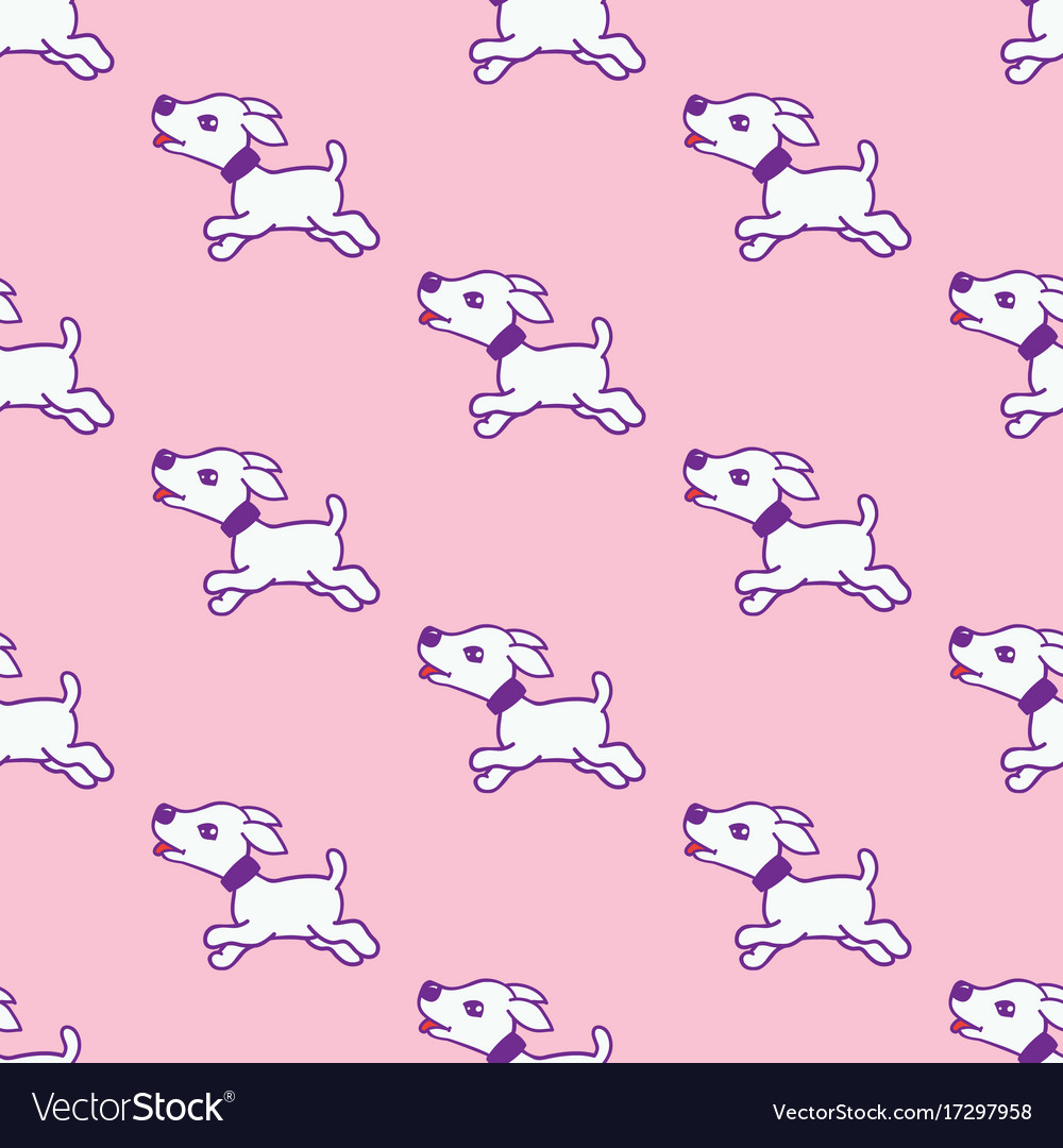 Seamless pattern with cute dog stickers isolated vector image