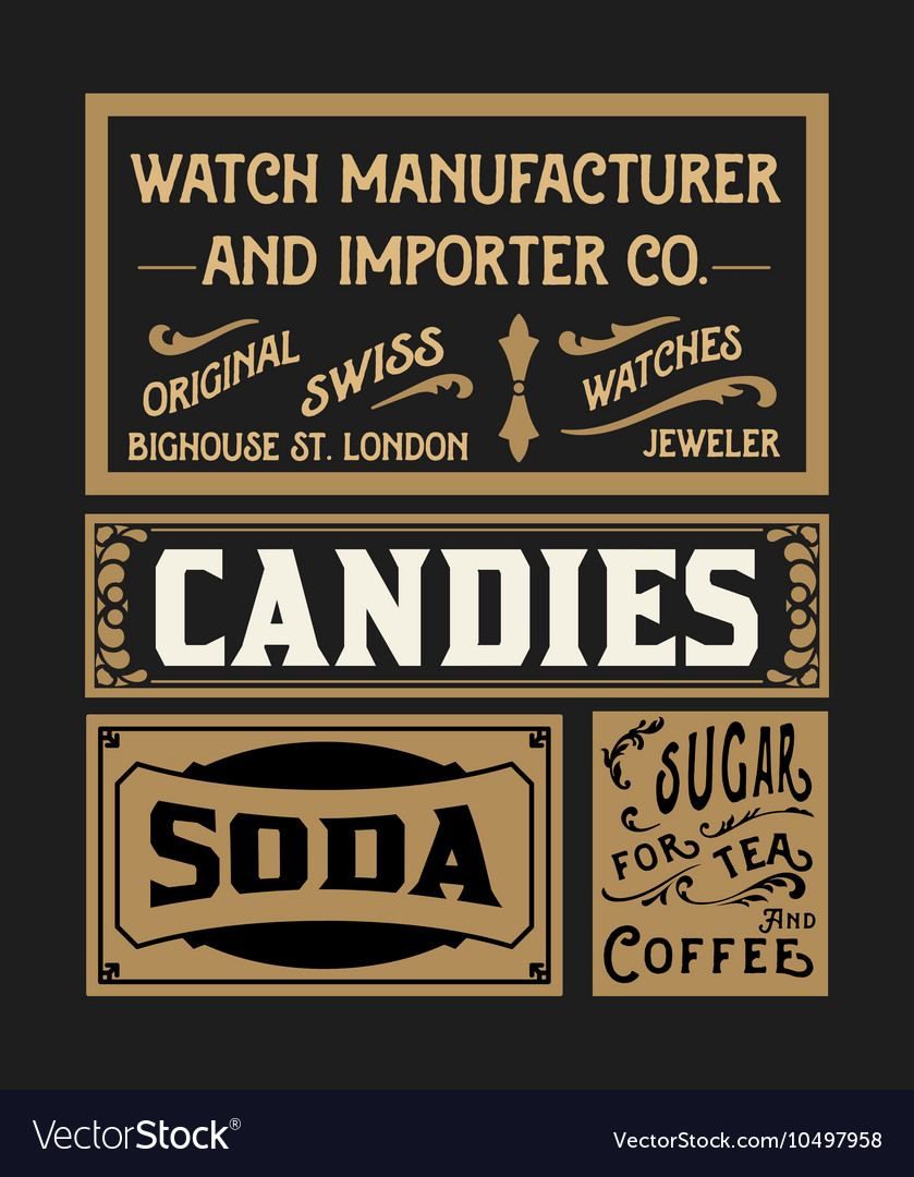 Set of old advertisement designs and labels vector image