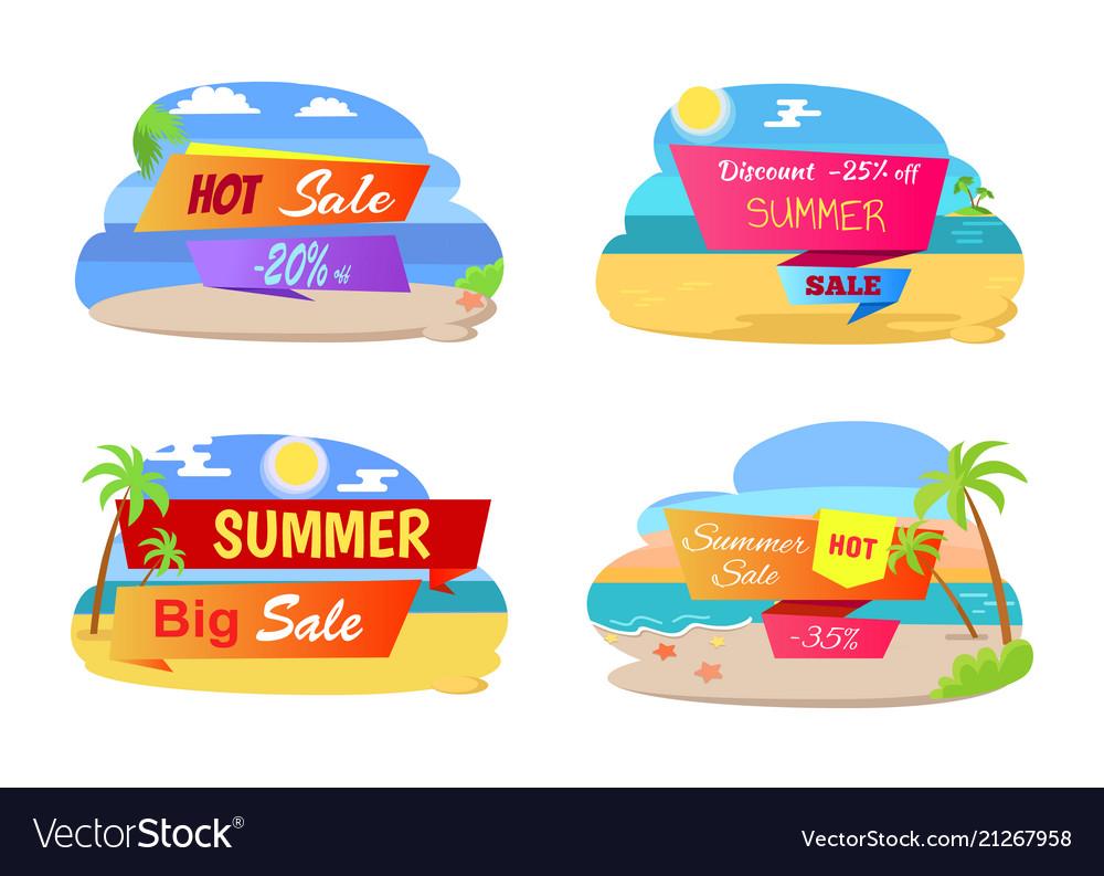 Summer hot sale labels set tropical beach palm