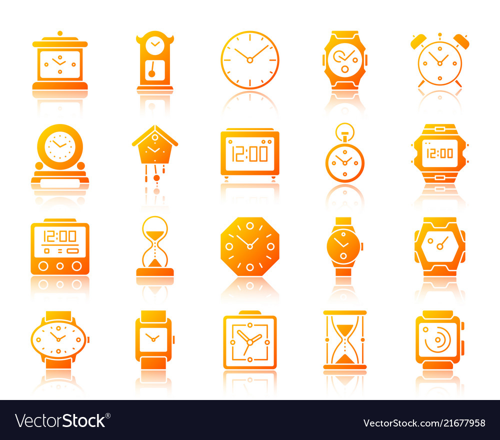 Watch simple gradient icons set