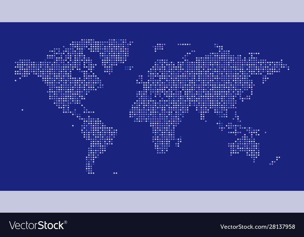 World map dot on blue background