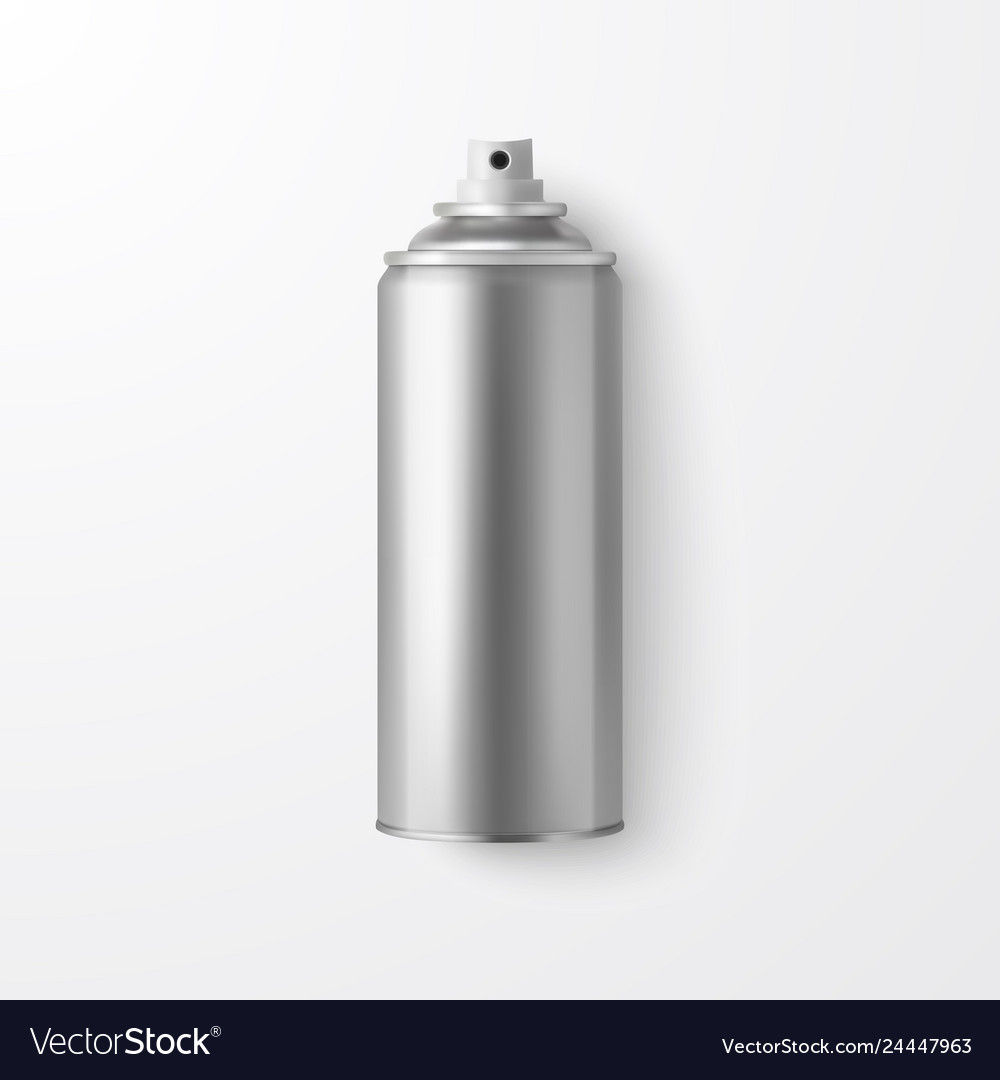 3d realistic silver blank spray can bottle