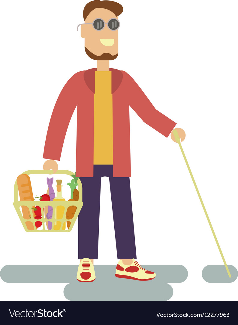 Blind person with walking stick vector image