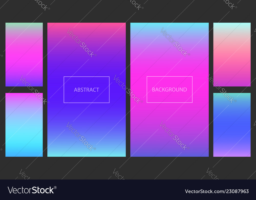 Bright pink and blue gradients backgrounds set