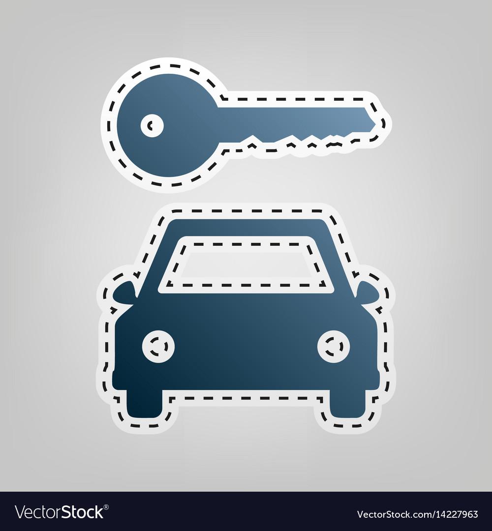 Car key simplistic sign blue icon with