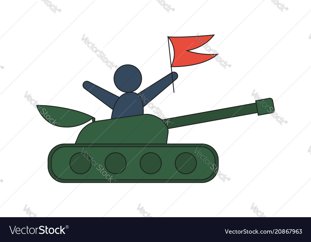 Cartoon tank in a flat style man with red flag