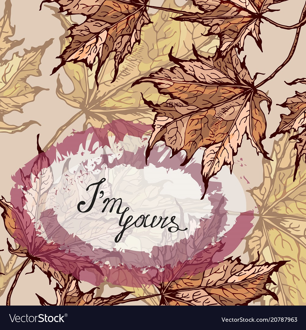 Colorful floral card with your text maple leaves