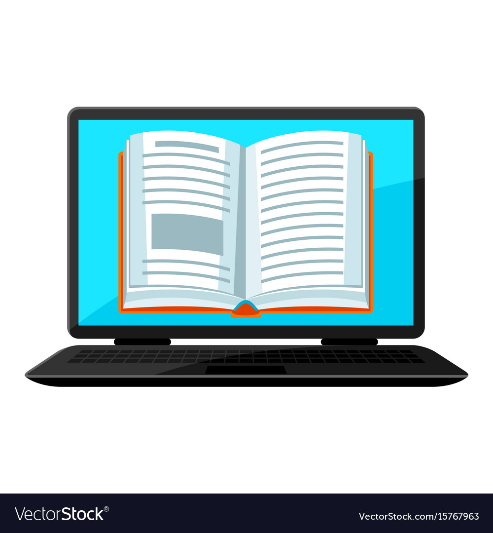 Digital library concept laptop with open book e