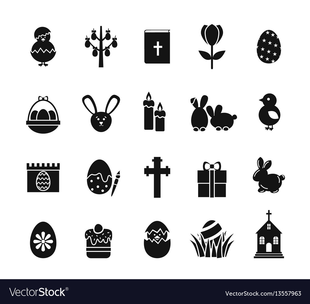 Easter icons black and white spring christian