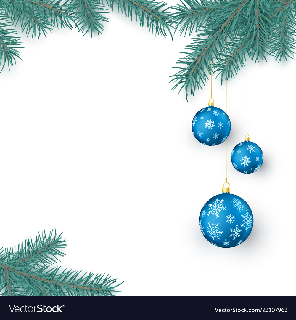 Fir twigs and blue christmas balls with