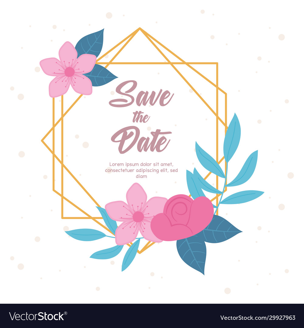 Flowers wedding save date greeting card