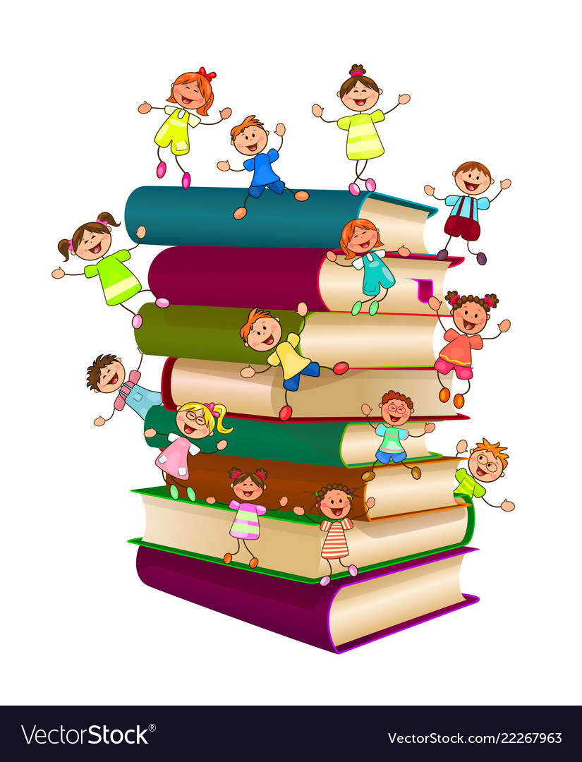 Book Clip Art - Happy School Kids Playing With Stack Of Books - Free  Transparent PNG Clipart Images Download