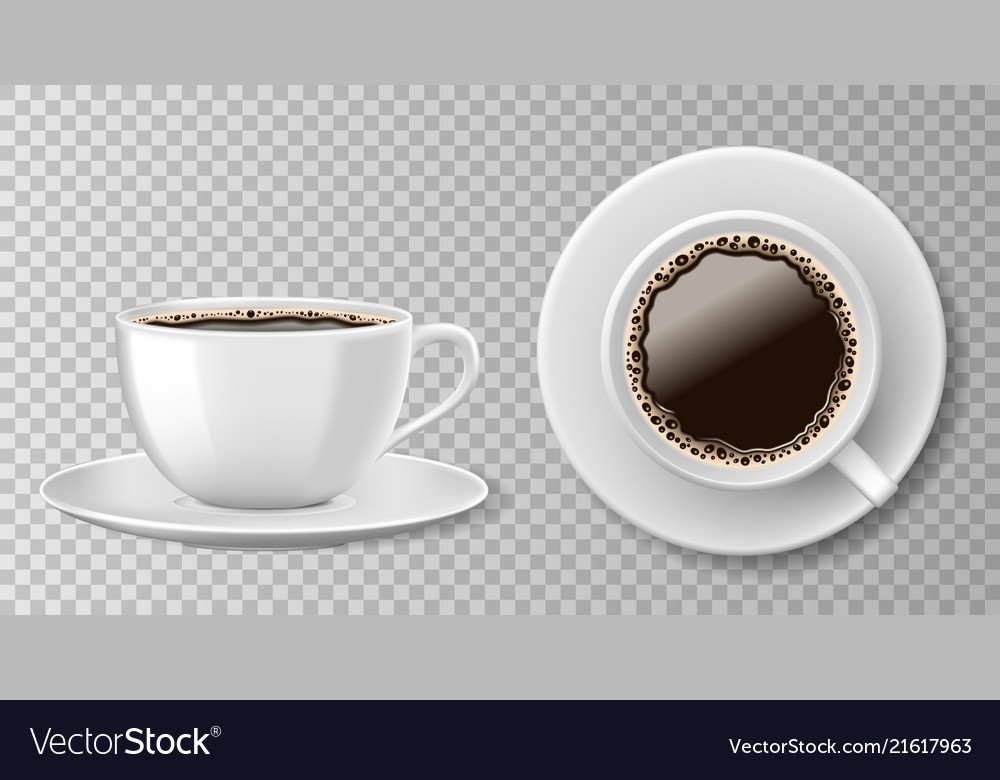 Realistic coffee cup top view isolated on