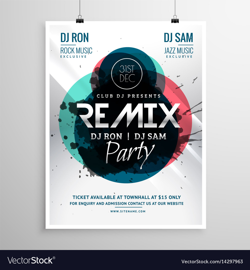Remix club party flyer poster template vector image