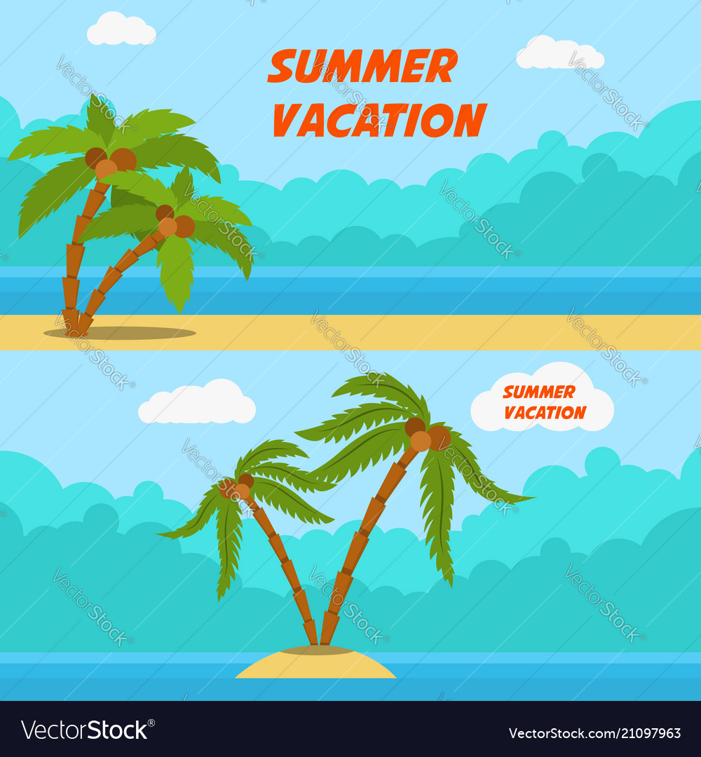 Summer vacation set of cartoon style banners with