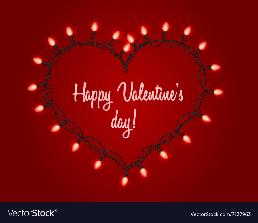 Valentines Day Background With Bright Lights Vector Image