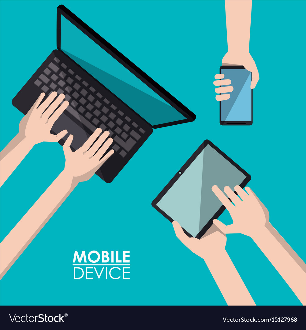Blue background poster mobile device with laptop