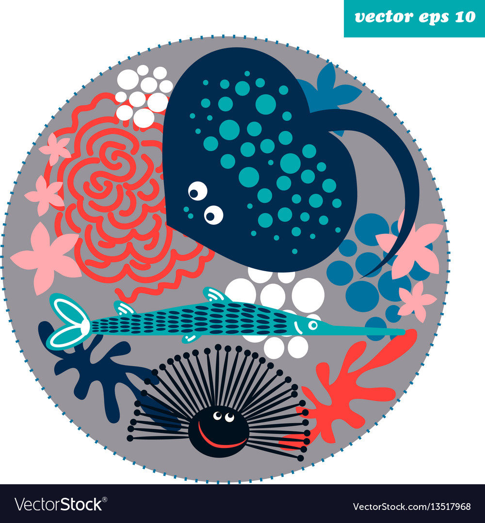 Cartoon fish circle