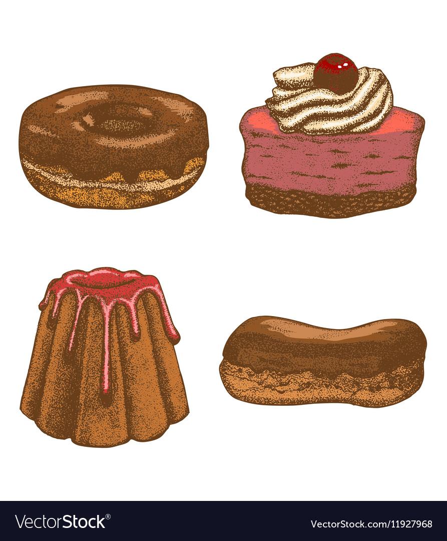 Colored set of doughnut pastry cake eclair