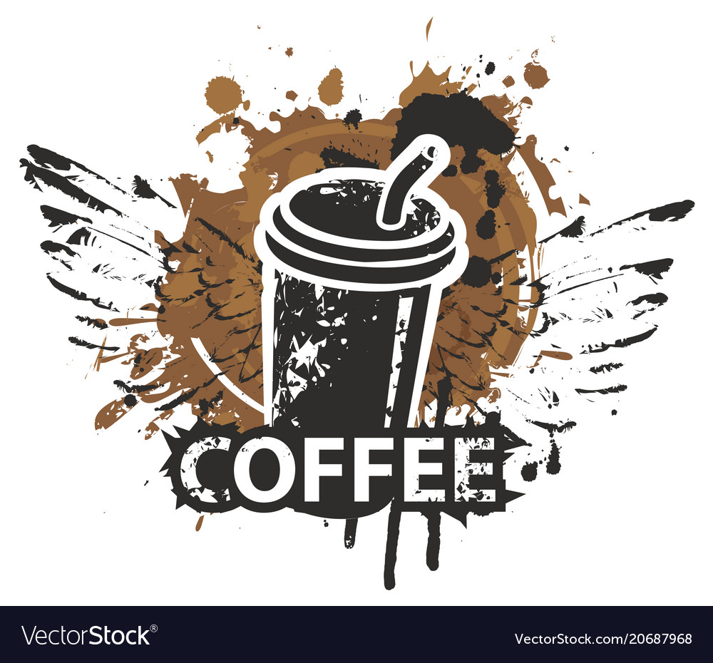 Disposable paper coffee cup with wings and straw vector image