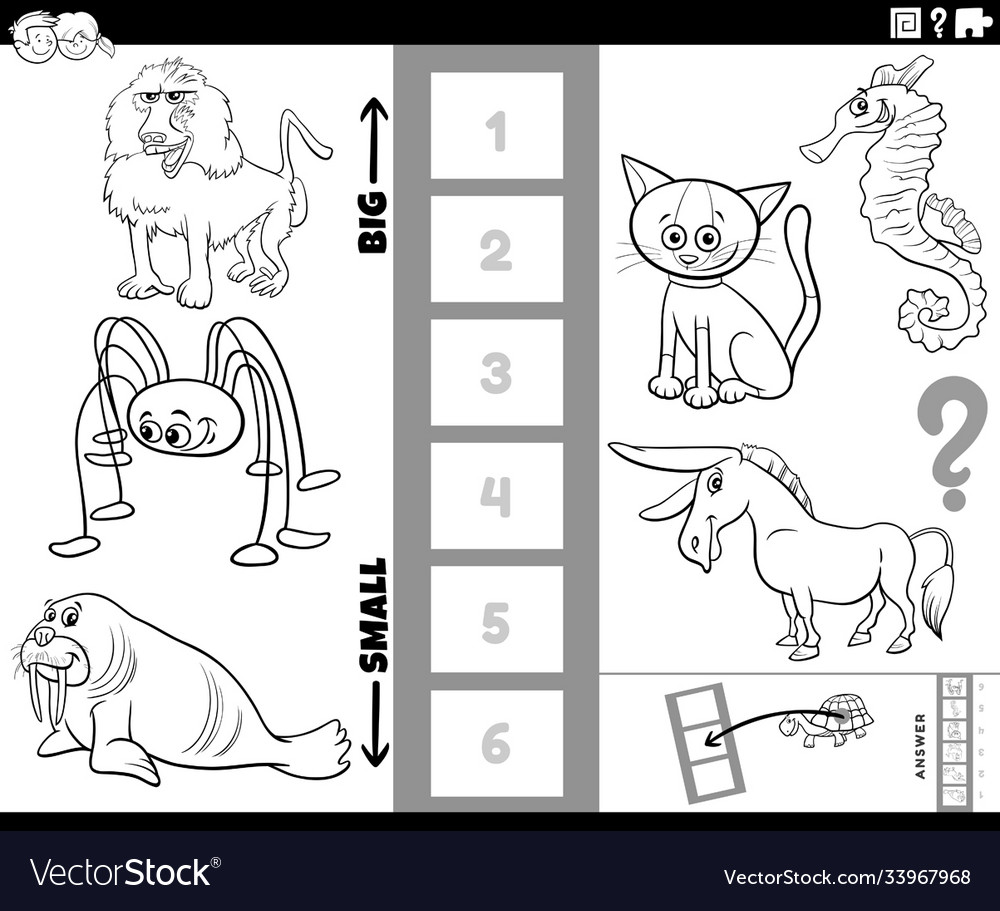 Find biggest and smallest animal game coloring