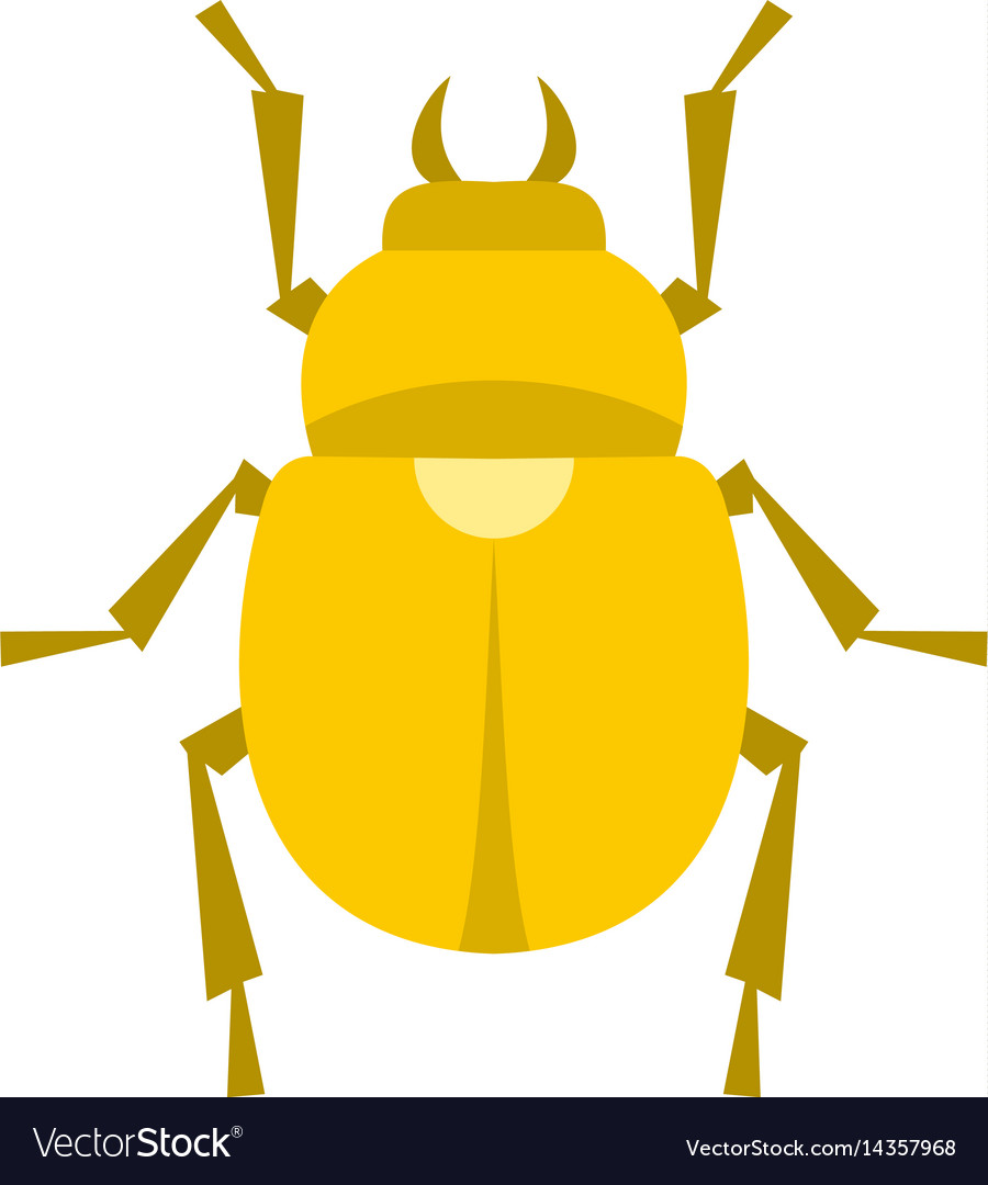 Gold scarab beetle icon isolated vector image