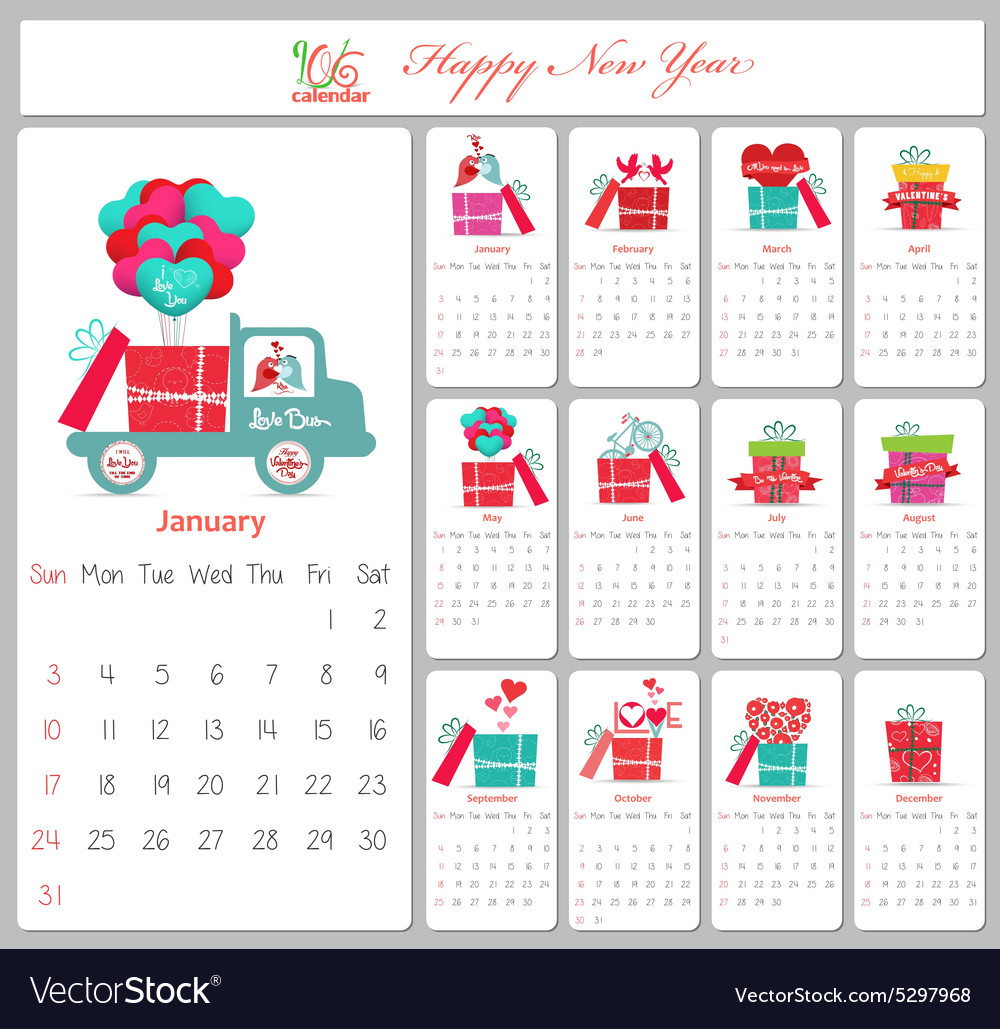 love calendar for 2016 with gifts royalty free vector image