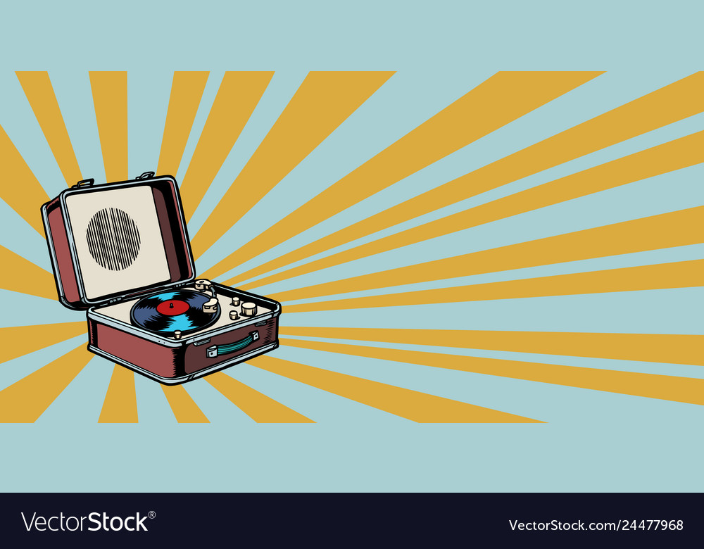 Retro vinyl record player pop art background
