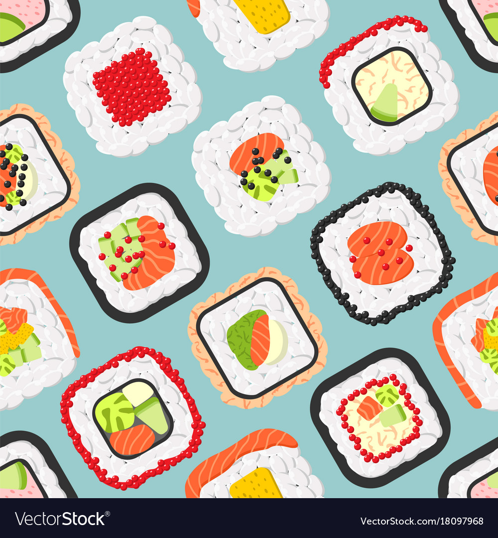 Seamless pattern of cute colored sushi rolls
