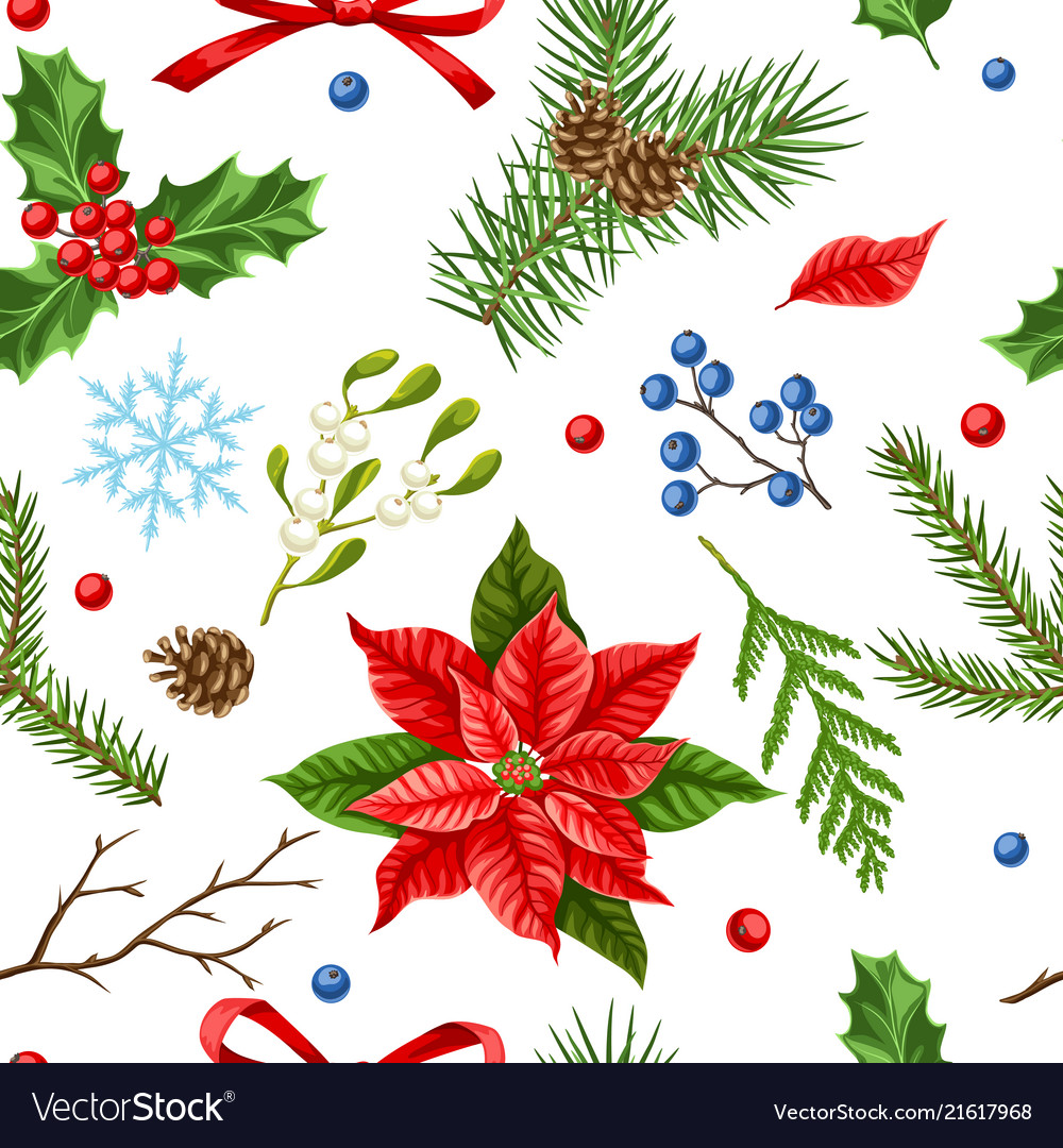 Seamless pattern with winter plants