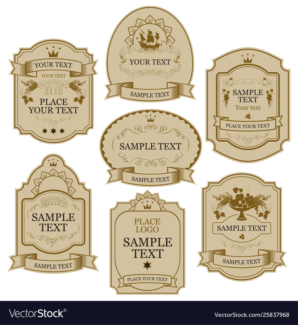 Set labels in beige and gold colors
