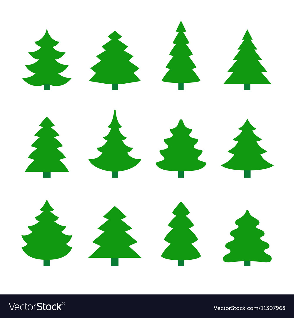 Christmas Trees Silhouette.Set Of Christmas Tree Silhouettes
